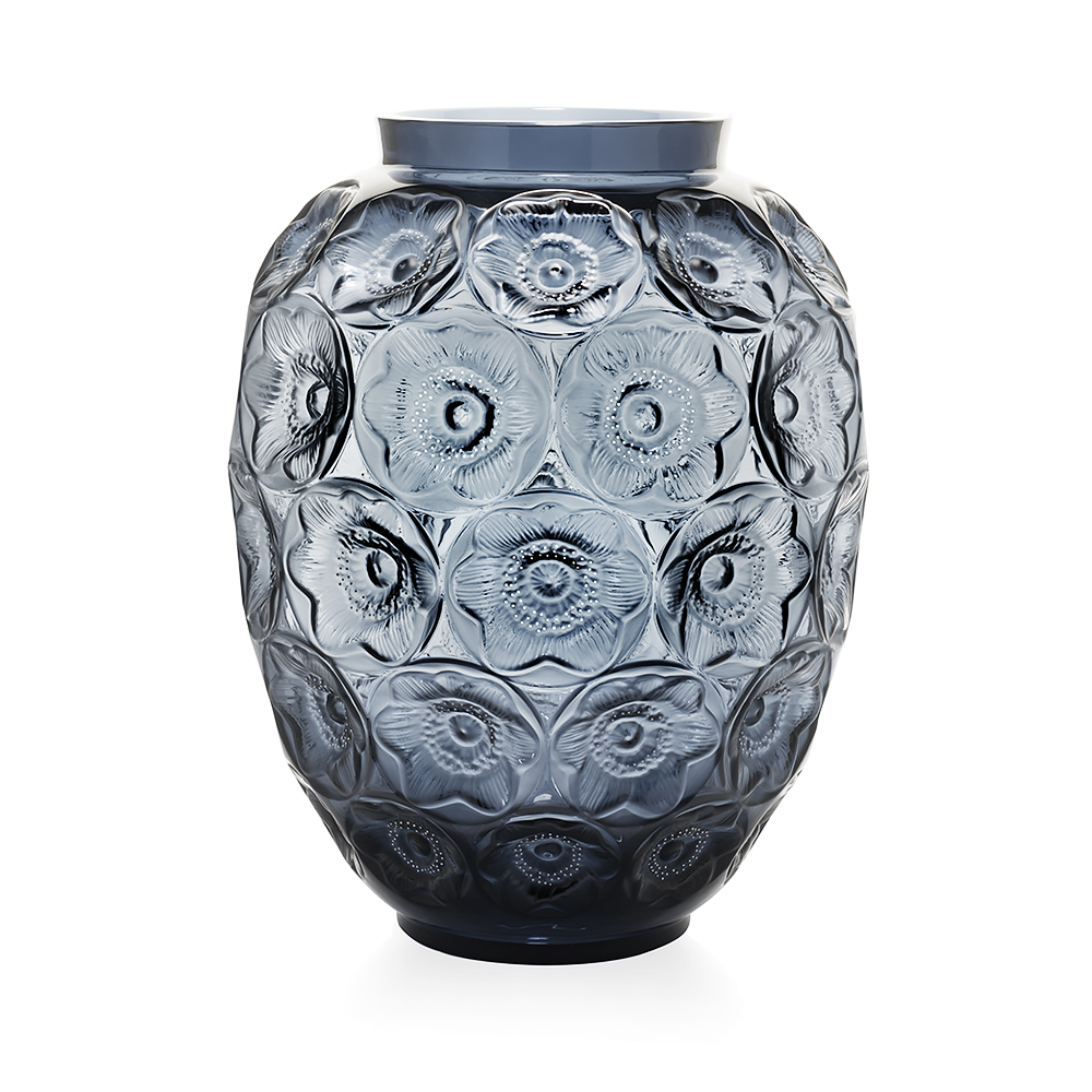 Anemones grand vase | Limited edition (188 pieces), midnight blue crystal and white enamelled | Lalique crystal vase
