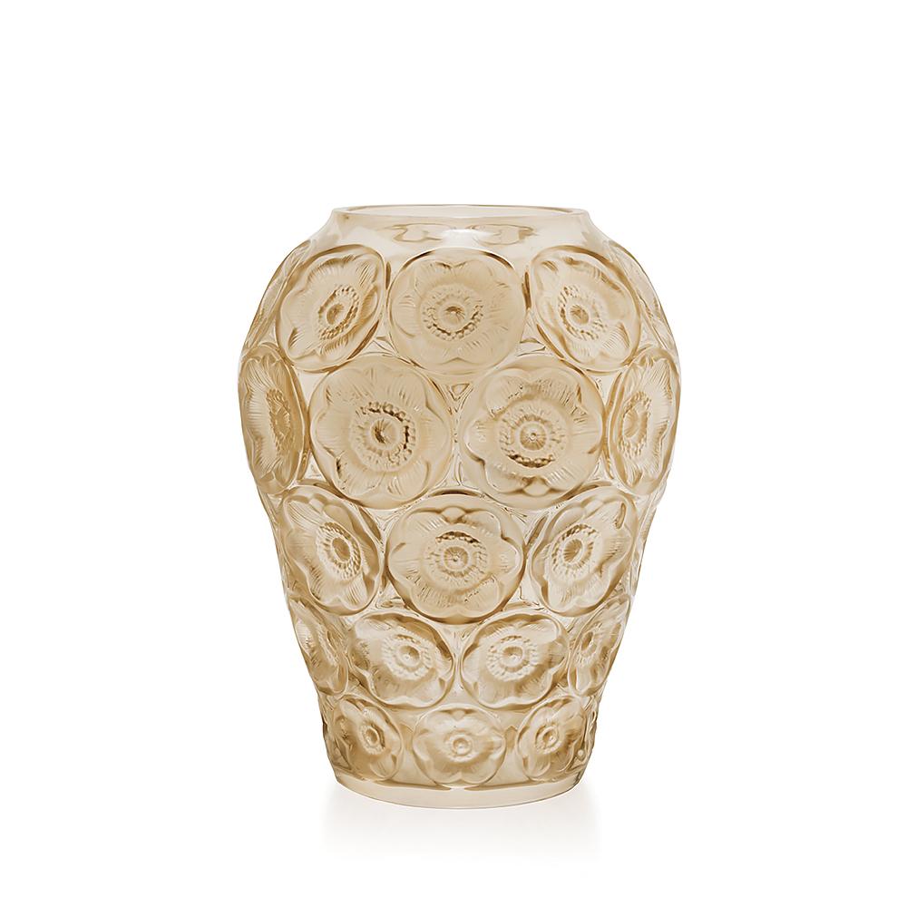 Anemones vase | Gold luster crystal | Lalique crystal vase