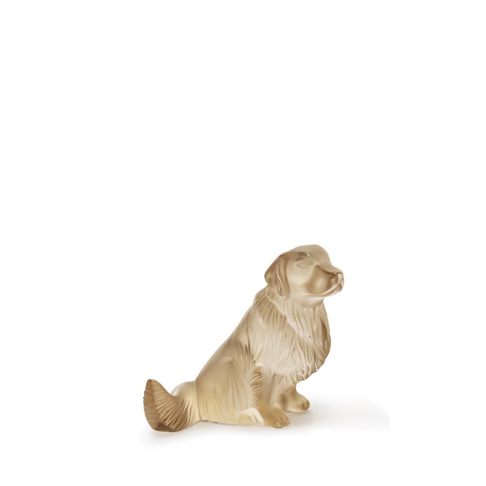 Golden Retriever dog sculpture | Gold luster crystal | Sculpture Lalique