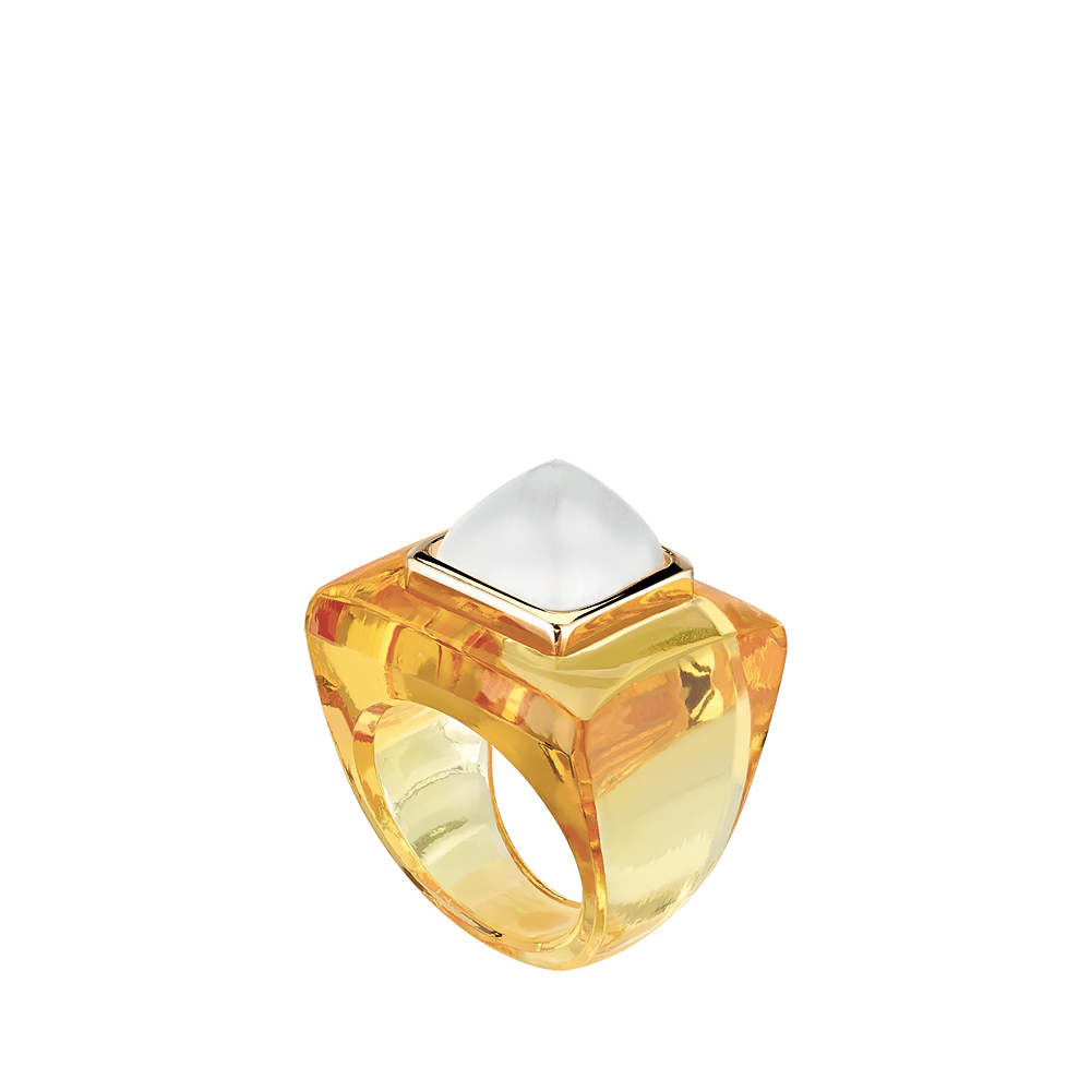 Charmante ring | Square clear and amber crystal, vermeil | Costume jewellery Lalique
