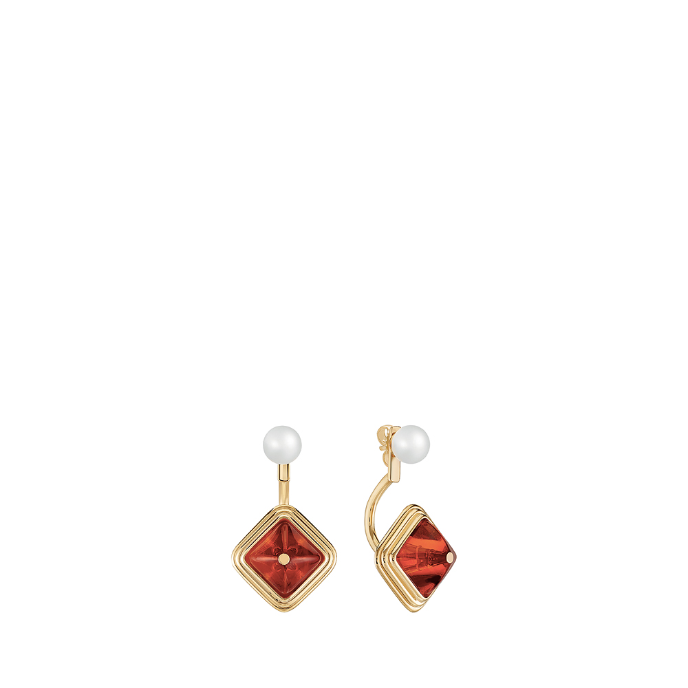 Charmante earrings | Clear and amber crystal, vermeil | Costume jewellery Lalique