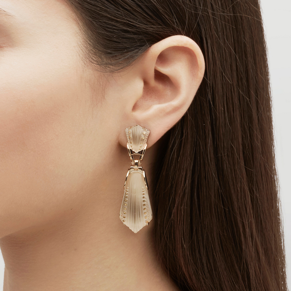 Icône earrings | Clear crystal, vermeil | Costume jewellery Lalique