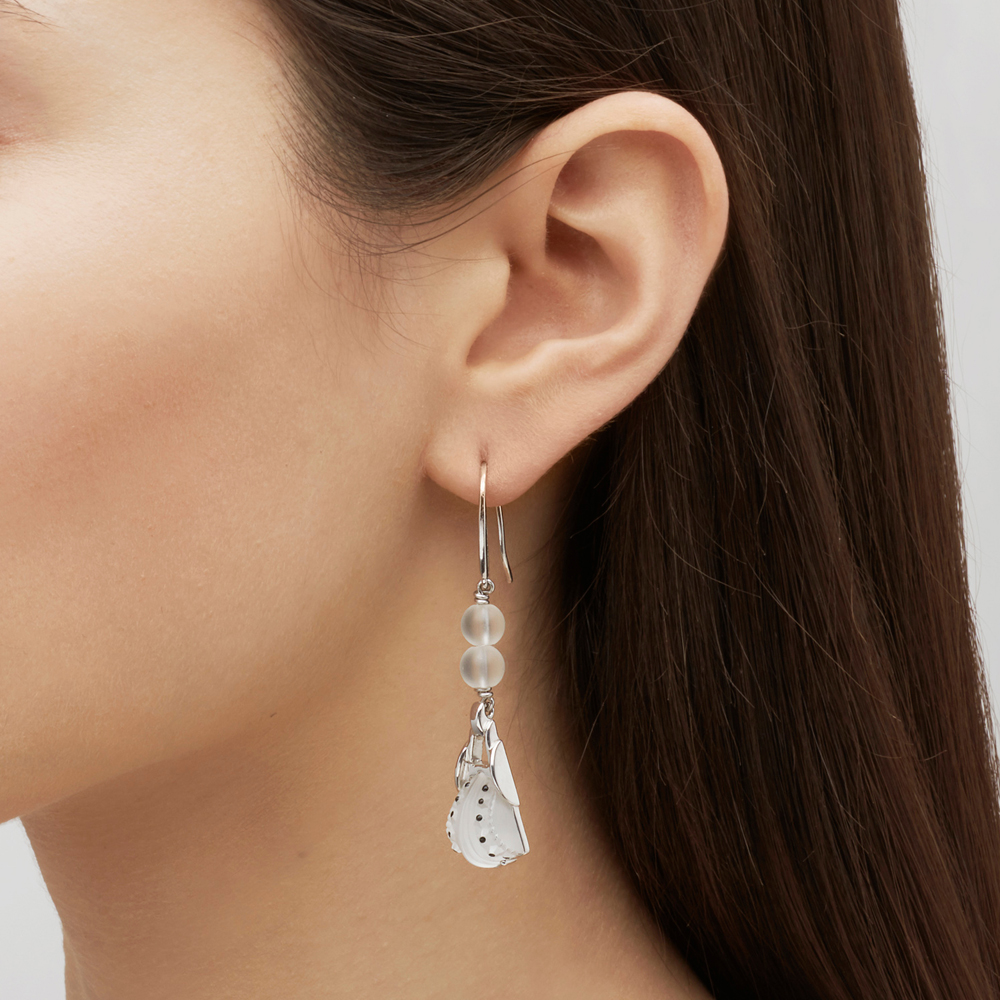 Icône earrings | Clear crystal, clear glass beads, silver | Costume jewellery Lalique