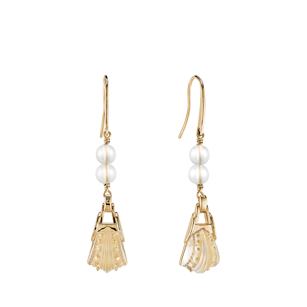 Icône earrings | Clear crystal, clear glass beads, vermeil | Costume jewellery Lalique