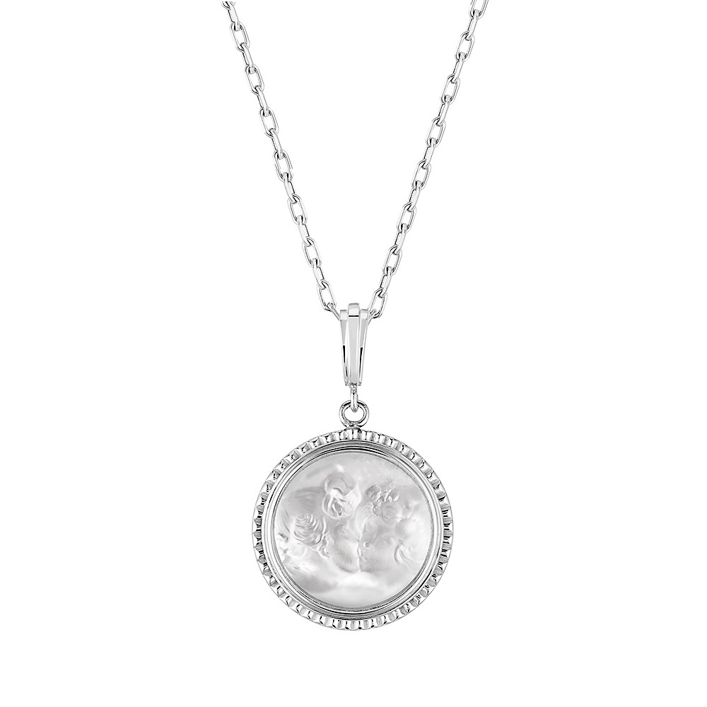 Le Baiser pendant | Clear crystal, silver | Costume jewellery Lalique