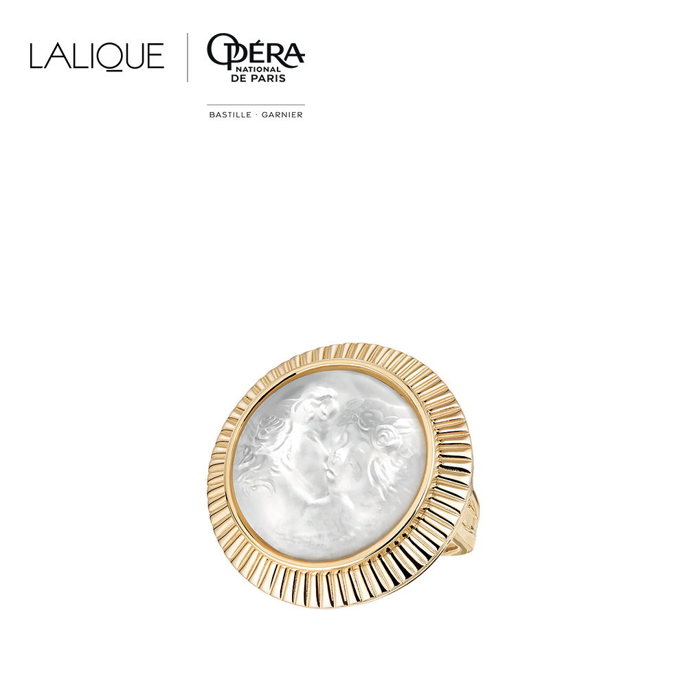 Le Baiser ring | Clear crystal, vermeil | Costume jewellery Lalique