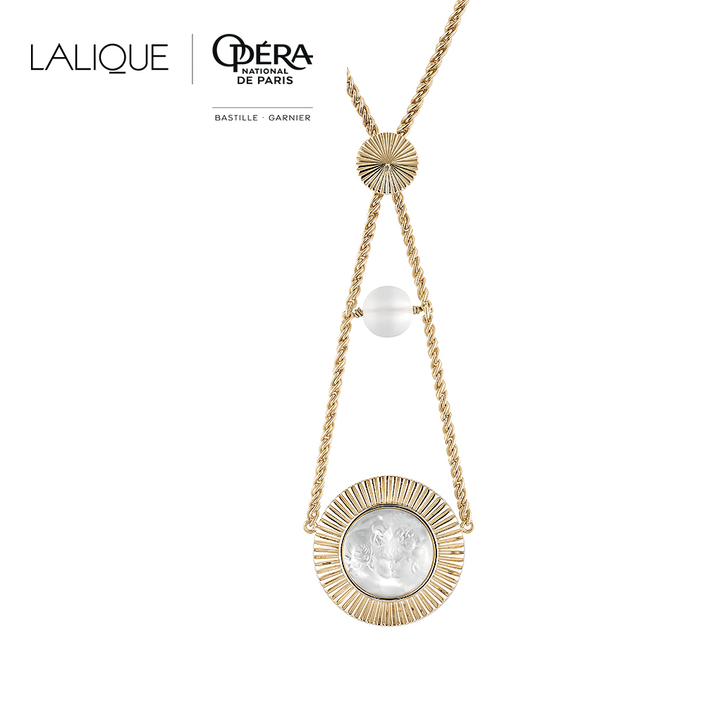 Le Baiser necklace | Clear crystal, clear glass bead, vermeil | Costume jewellery Lalique