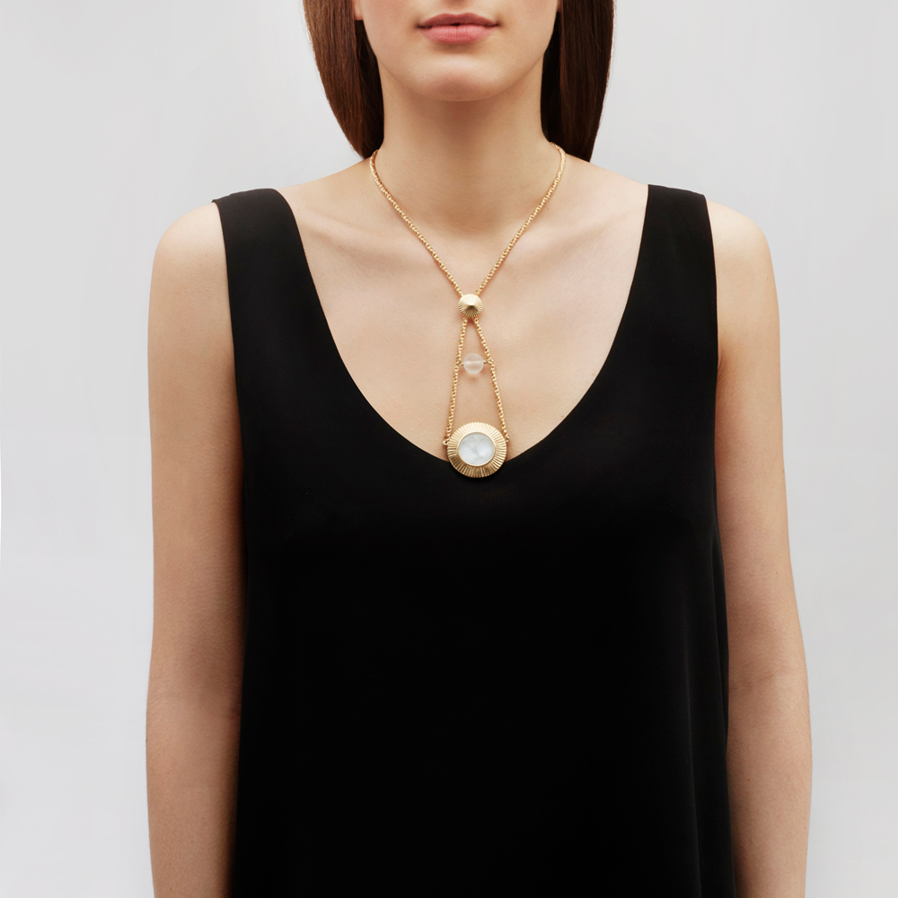 Le Baiser necklace   Clear crystal, clear glass bead, vermeil   Costume jewellery Lalique