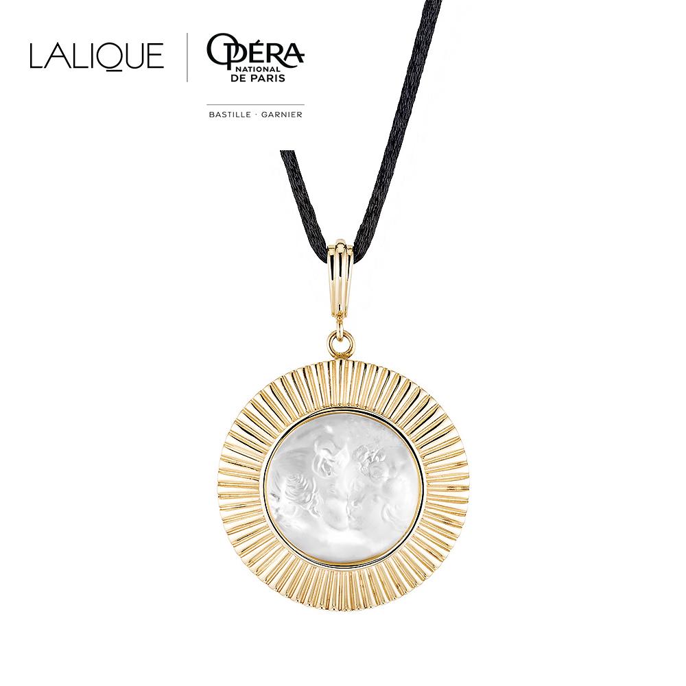 Le Baiser pendant | Clear crystal, vermeil | Costume jewellery Lalique