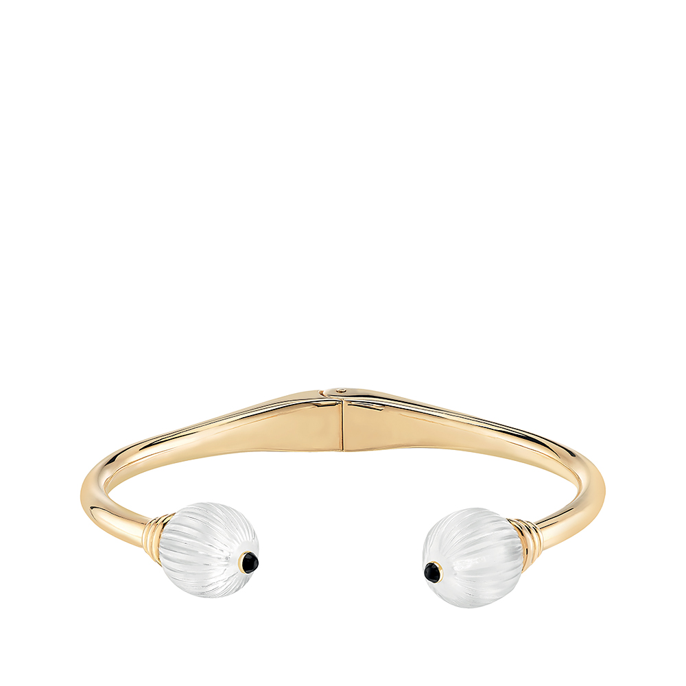 Vibrante bracelet | Clear crystal, black lacquer, vermeil | Costume jewellery Lalique