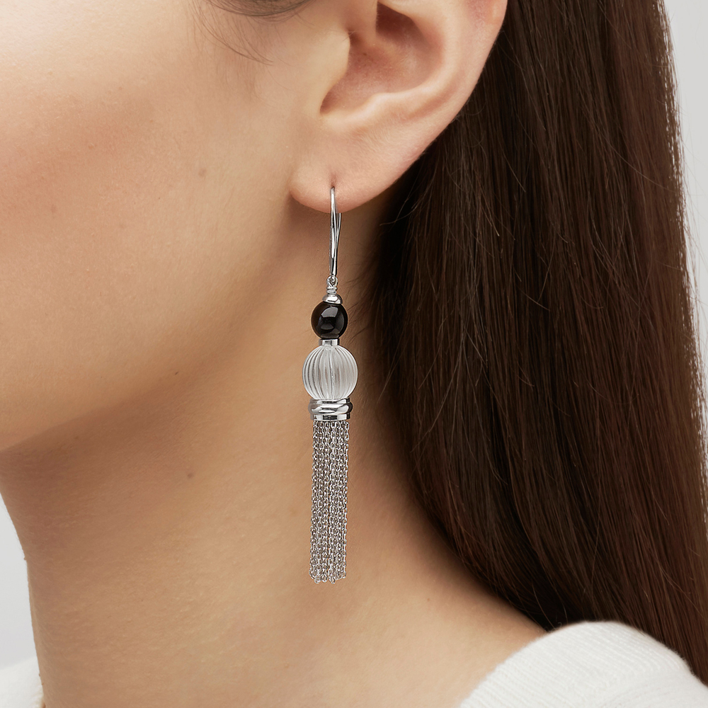 Vibrante earrings | Clear and black crystal, silver | Costume jewellery Lalique