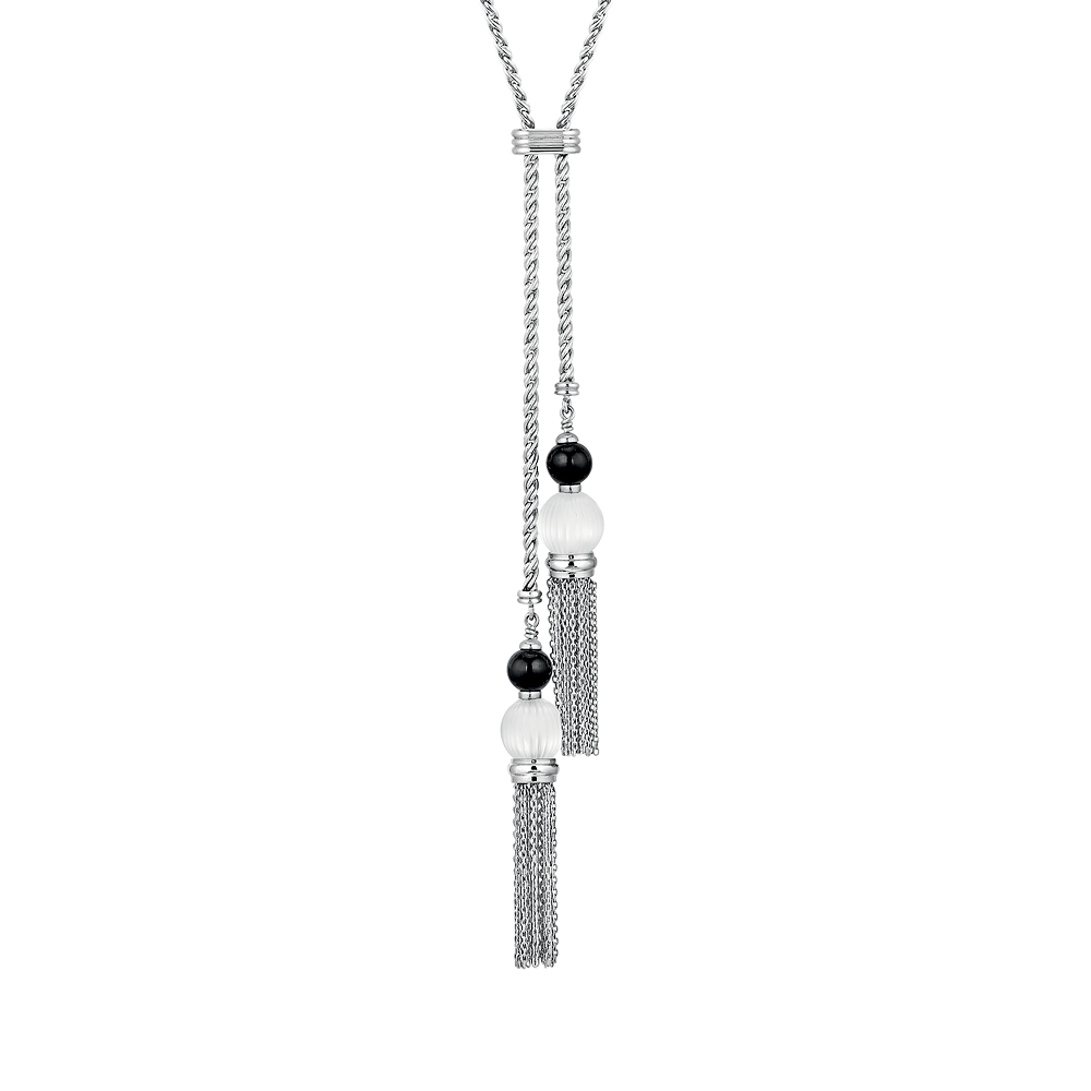 Vibrante necklace | Clear and black crystal, silver | Costume jewellery Lalique