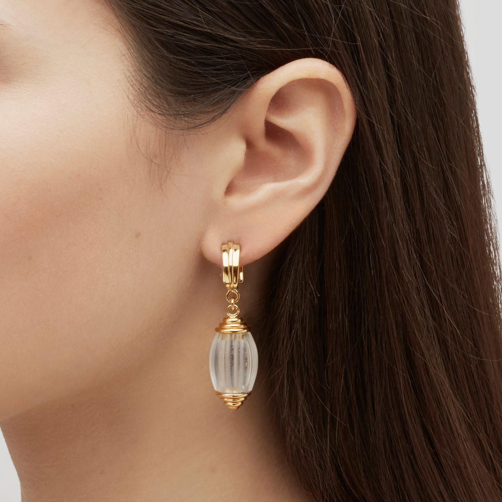 Vibrante earrings | Clear crystal, vermeil | Costume jewellery Lalique