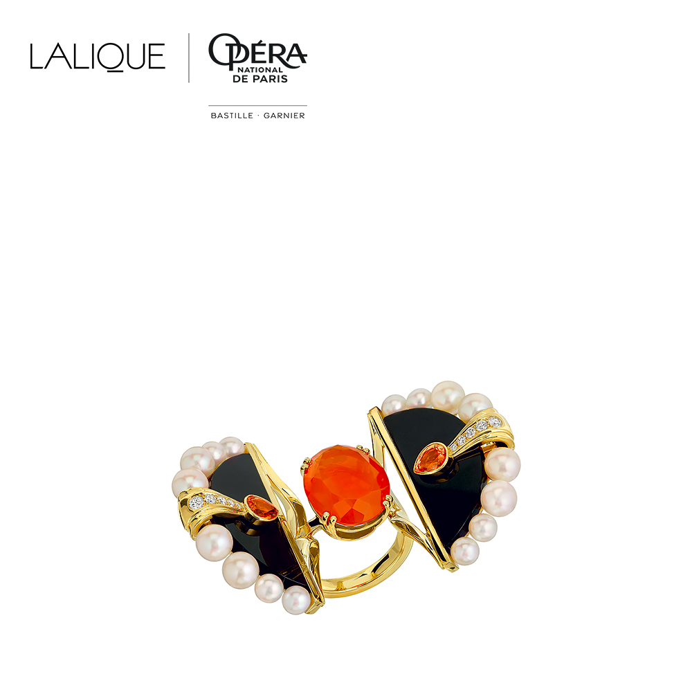 L'Oiseau de Feu ring | Fire opal, diamonds, pearls, sapphire orange, black jade, yellow gold | Lalique fine jewellery