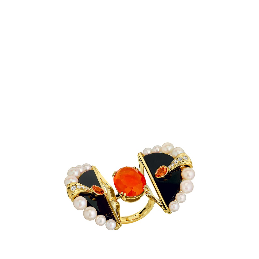 L'Oiseau de Feu ring | YELLOW GOLD, FIRE OPAL, DIAMONDS, SAPPHIRE, CULTURED PEARLS, JADE | Lalique fine jewellery