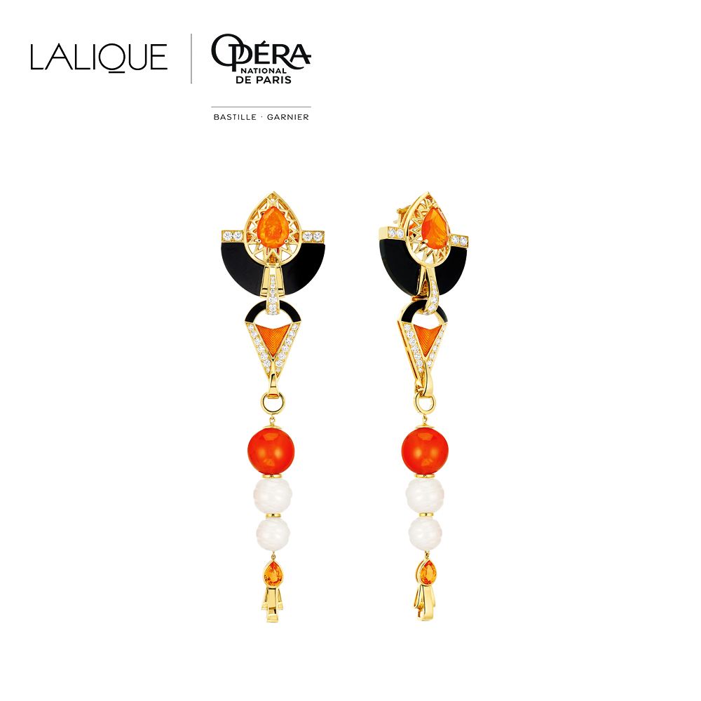 L'Oiseau de Feu earrings | Diamonds, engraved white Jades, orange sapphires, black jade, cornalines, fire opal, yellow gold | Lalique fine jewellery