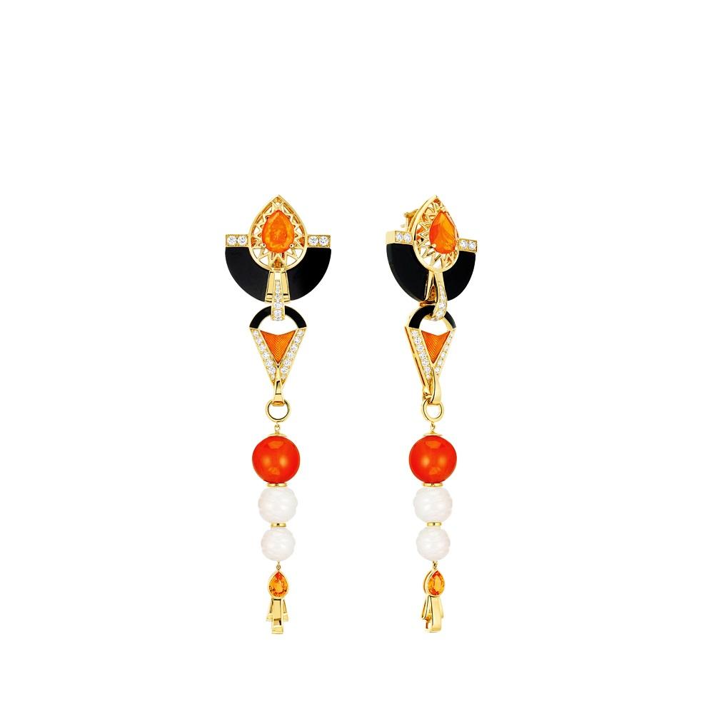 L'Oiseau de Feu earrings | YELLOW GOLD, SAPPHIRES, DIAMONDS, FIRE OPALS, JADE, CARNELIAN, LACQUER | Lalique fine jewellery