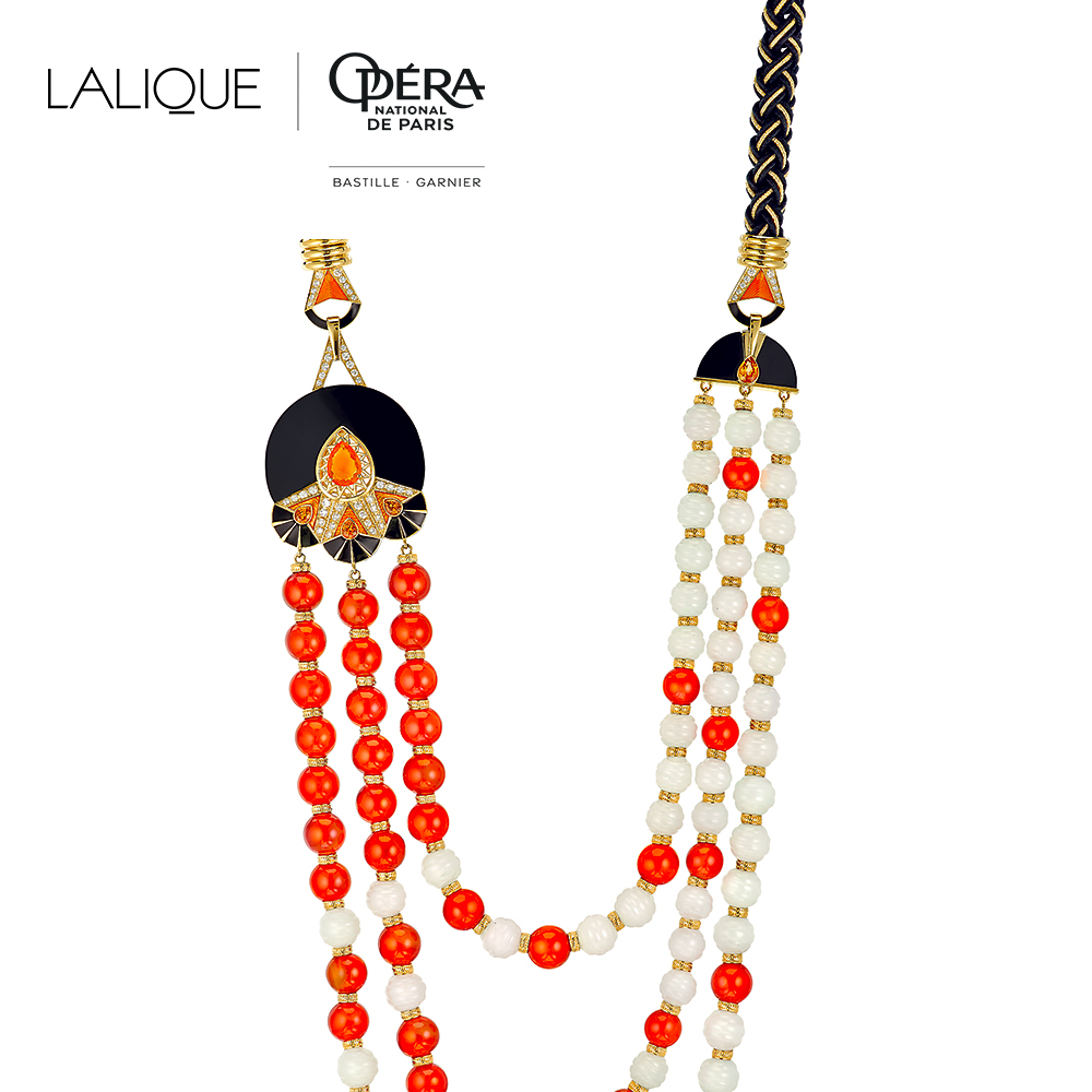 L'Oiseau de Feu necklace | Diamonds, engraved white Jades, orange sapphires, black jade, cornalines, fire opal, silk and gold braiding, yellow gold | Lalique fine jewellery
