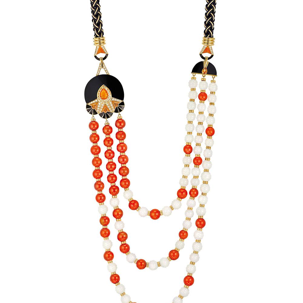 L'Oiseau de Feu necklace | Diamonds, engraved white Jades, orange sapphires, black jade, cornalines, fire opal, silk and gold braiding, yellow gold | Lalique fine jewellery