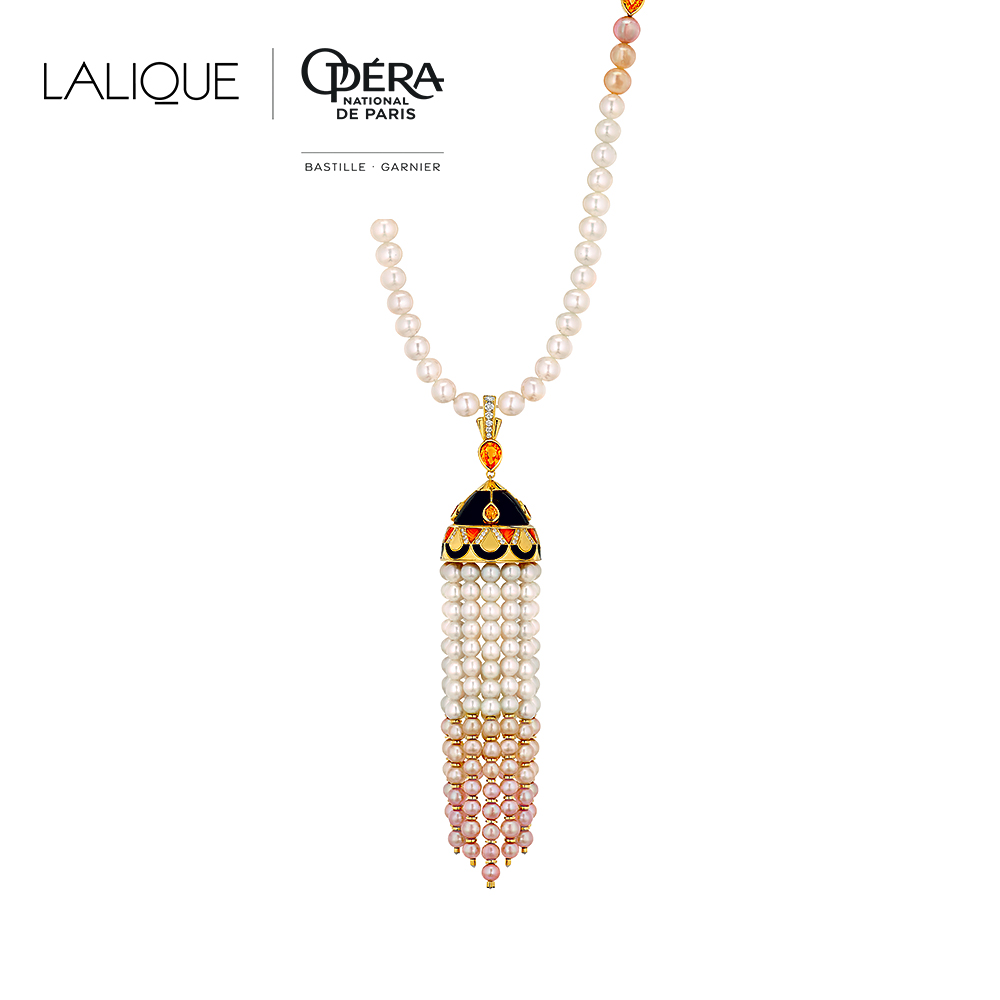 L'Oiseau de Feu necklace | Diamonds, orange sapphires, black jade, pearls, yellow gold | Lalique fine jewellery