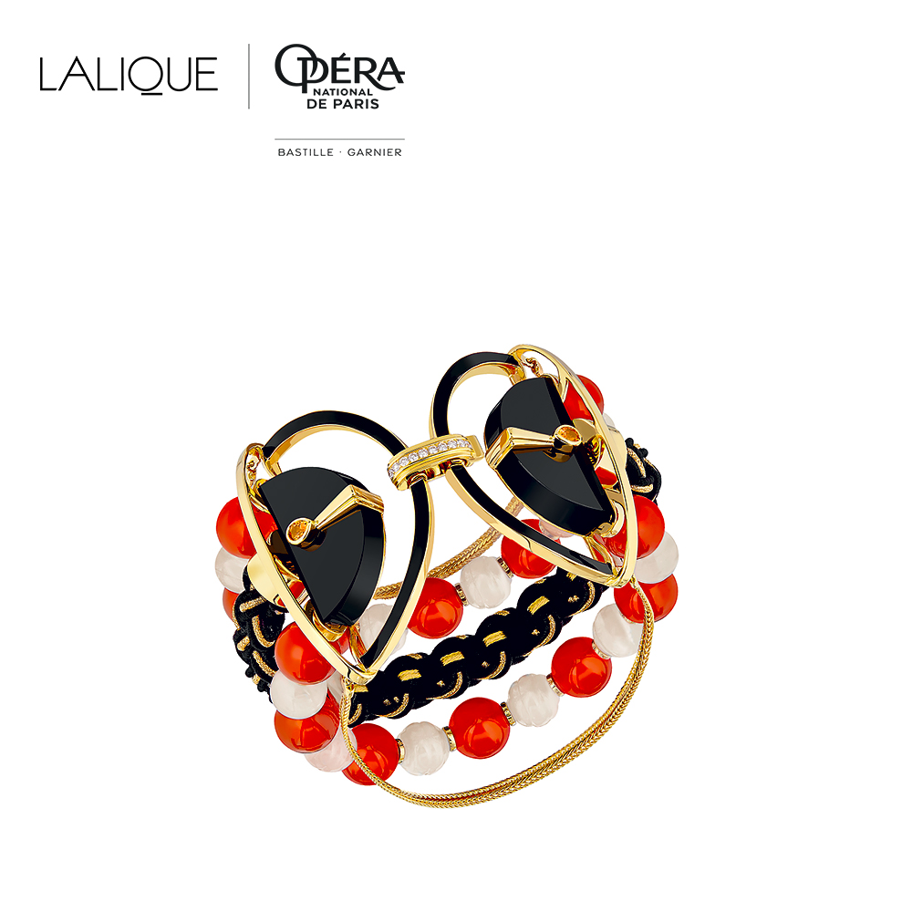 L'Oiseau de Feu bracelet | Diamonds, engraved white Jades, orange sapphires, black jade, cornalines, silk and gold braiding, yellow gold | Lalique fine jewellery