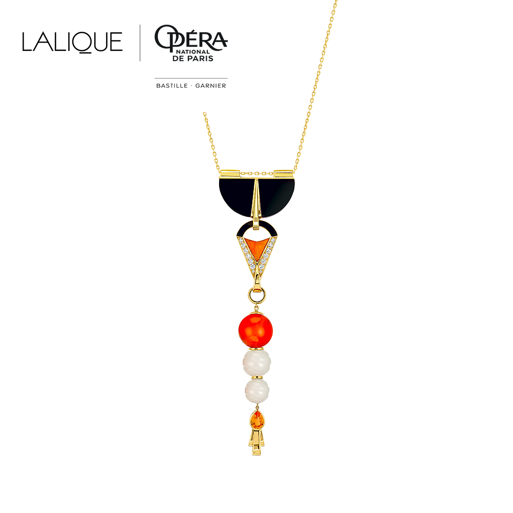 L'Oiseau de Feu pendant | Diamonds, engraved white Jades, orange sapphires, black jade, cornalines, yellow gold | Lalique fine jewellery