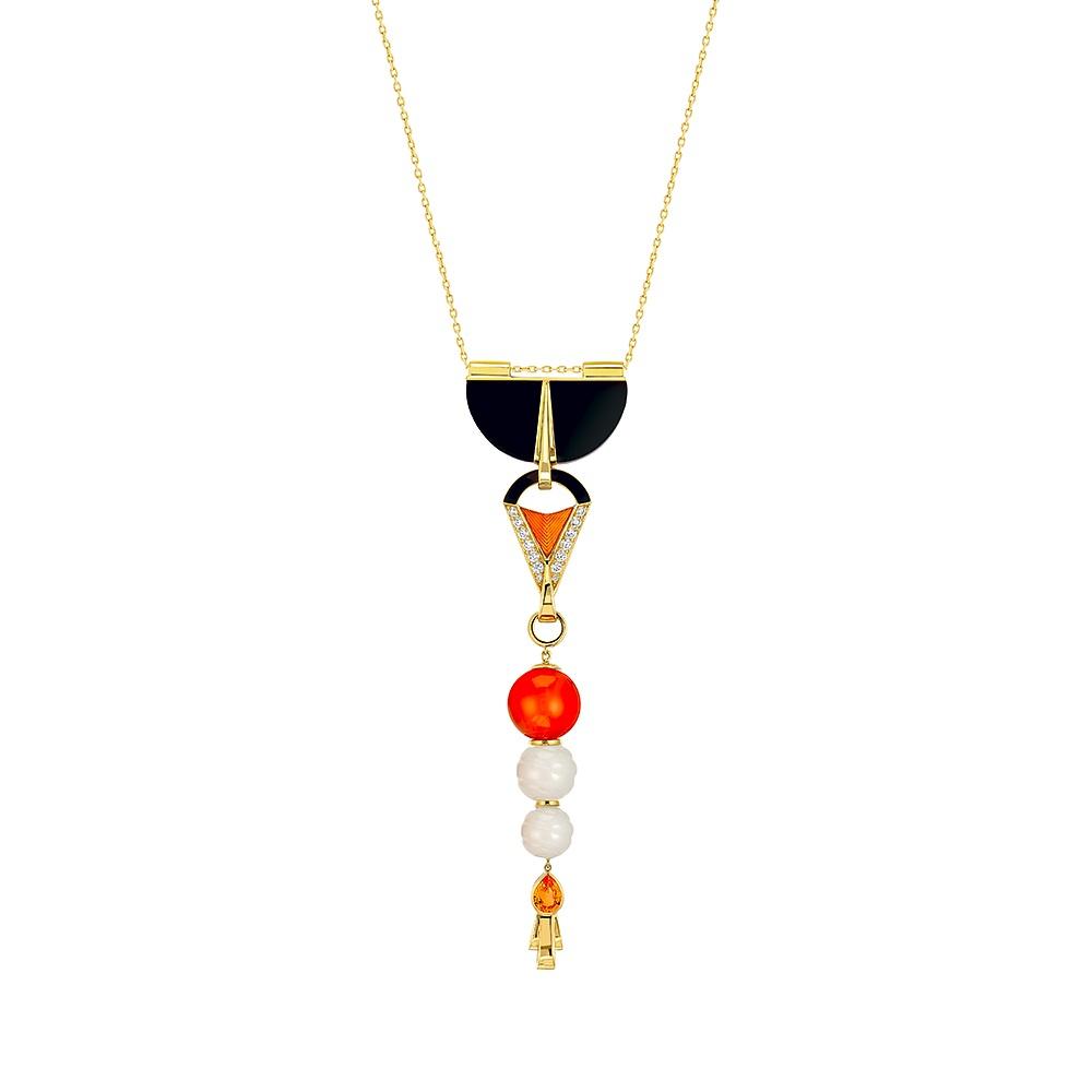 L'Oiseau de Feu pendant | YELLOW GOLD, SAPPHIRES, DIAMONDS, JADE, CARNELIAN, LACQUER | Lalique fine jewellery