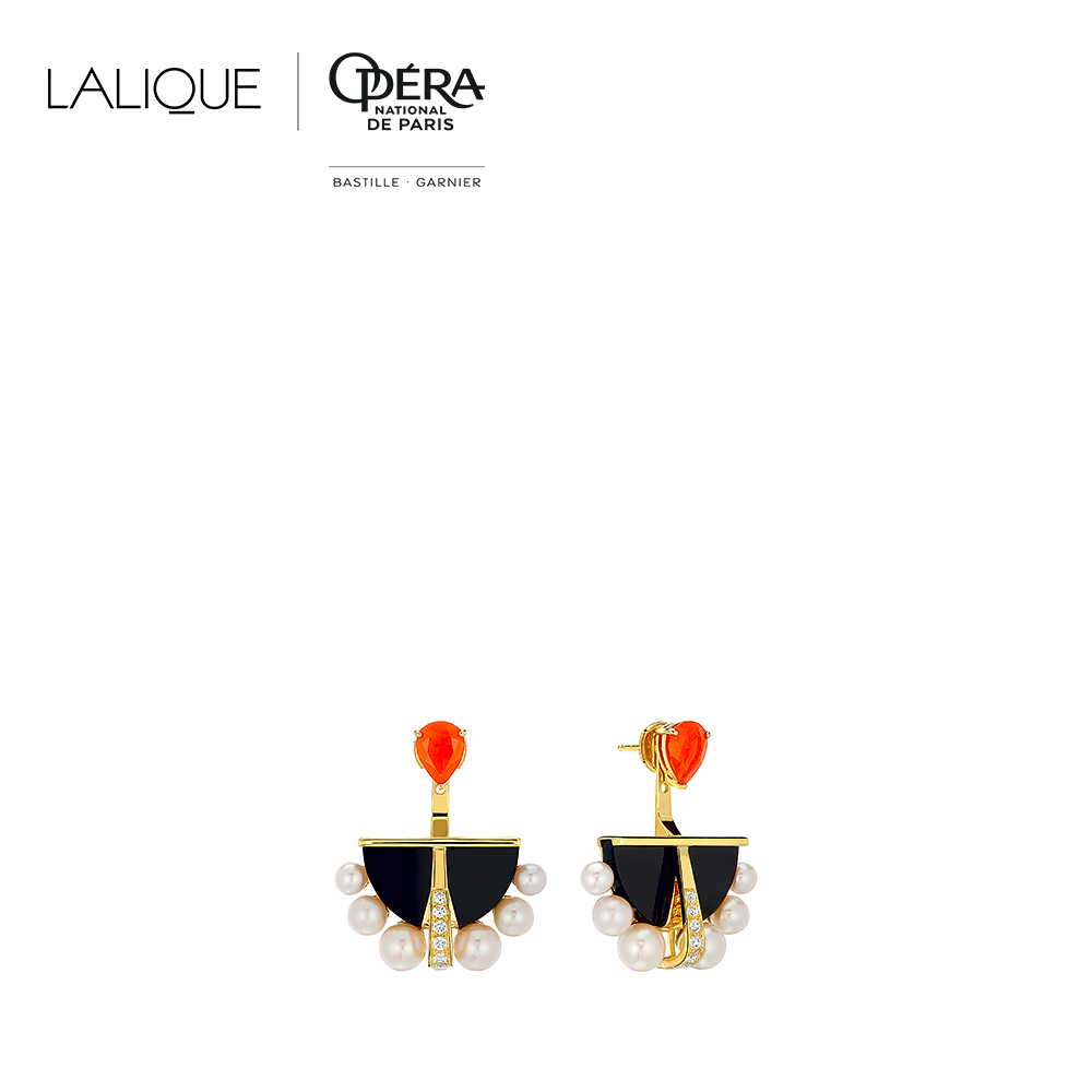 L'Oiseau de Feu earrings | Diamonds, black jade, pearls, fire opal, yellow gold | Lalique fine jewellery