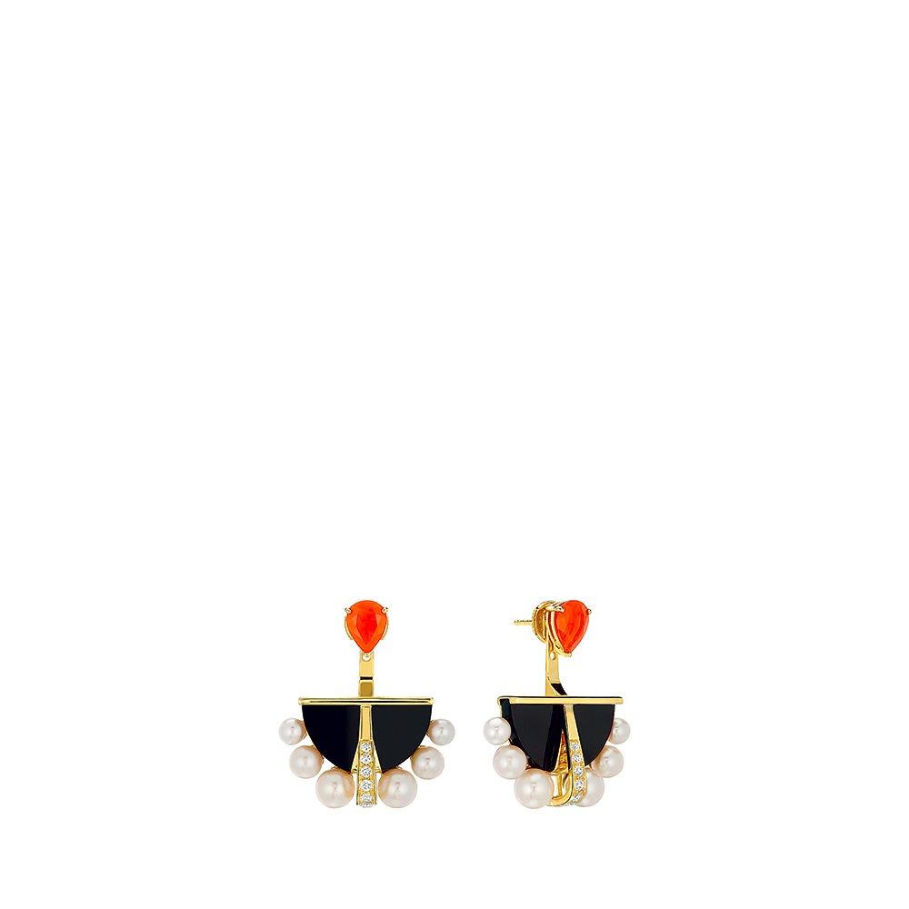 L'Oiseau de Feu earrings | YELLOW GOLD, FIRE OPALS, DIAMONDS, CULTURED PEARLS, JADE | Lalique fine jewellery