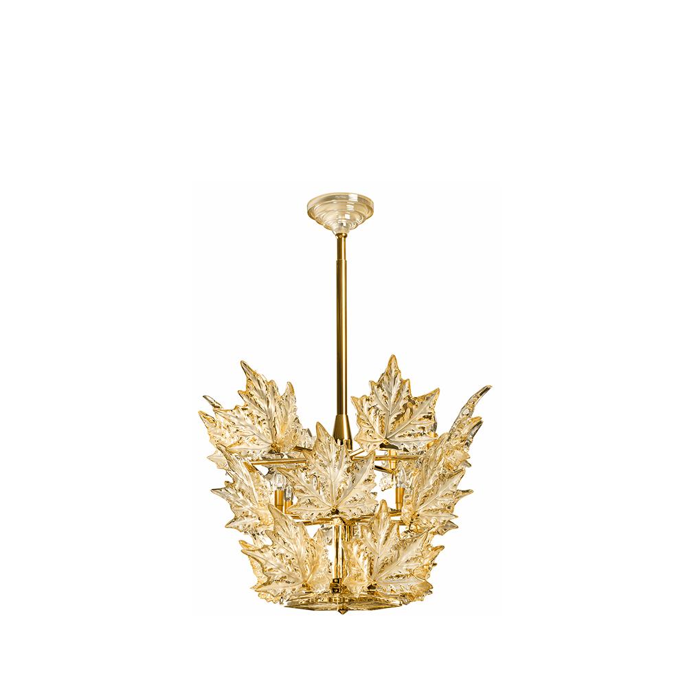 Champs-Élysées chandelier | Gold luster crystal, gilded finish (3 tiers) | Interior Design Lalique