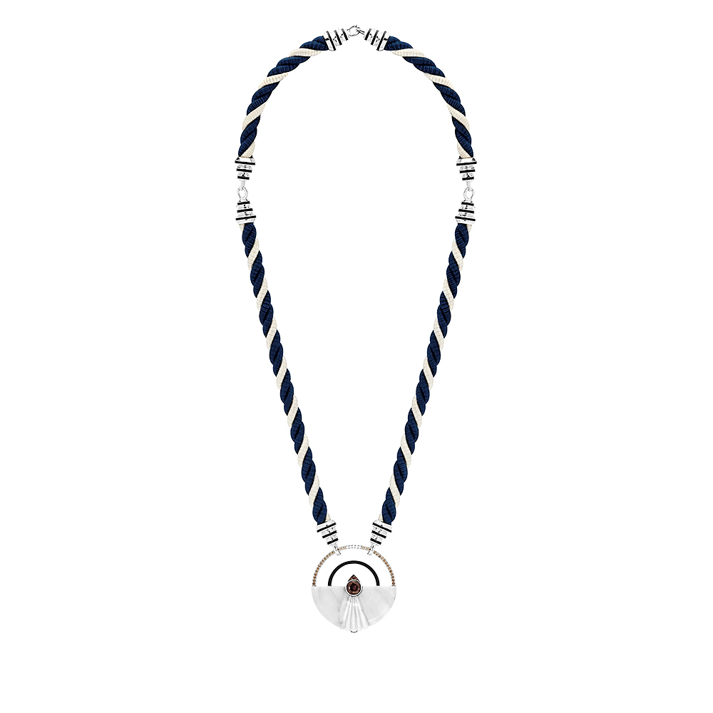 L'Oieau Moqueur necklace | Smoky quartz, marble, diamonds, champagne diamonds, white gold | Lalique fine jewellery