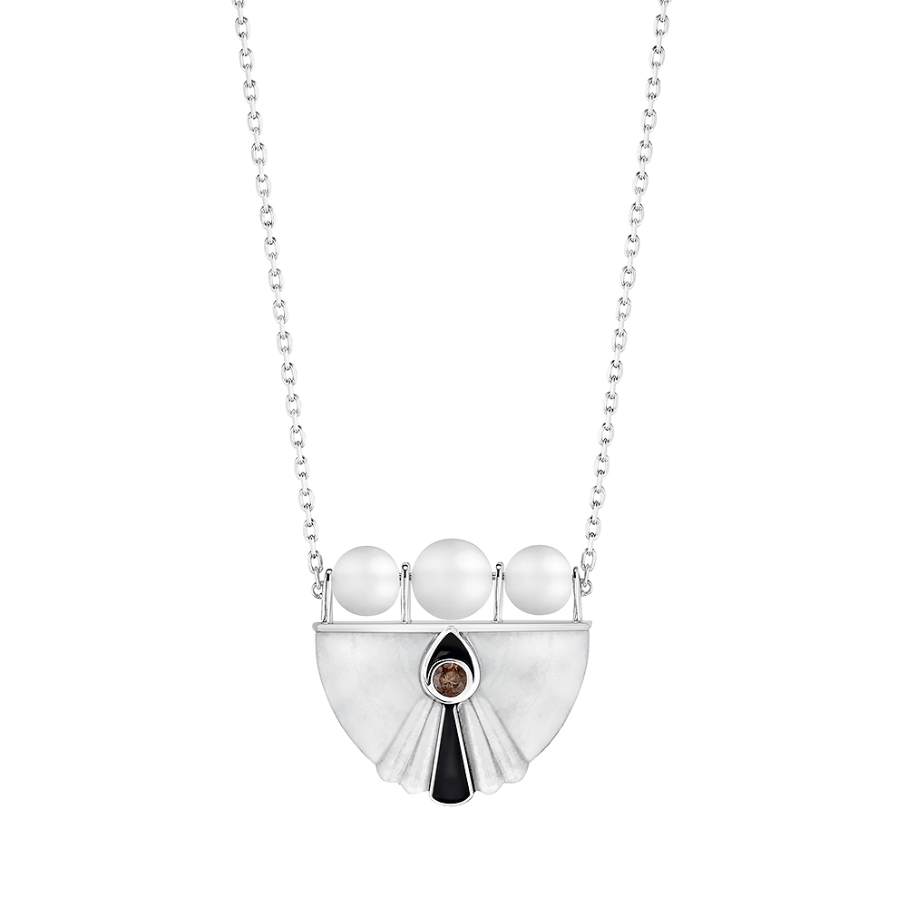 L'Oiseau Moqueur Collier | Smoky quartz, marbe, clear crystal, white gold | Lalique fine jewellery