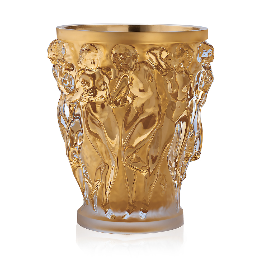 bacchantes grand vase limited edition 90 pieces clear crystal with gold leaf vase lalique. Black Bedroom Furniture Sets. Home Design Ideas