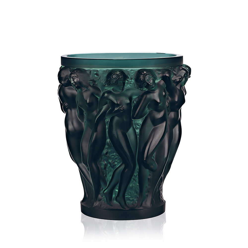 Bacchantes vase intense green crystal vase lalique for Lalique vase