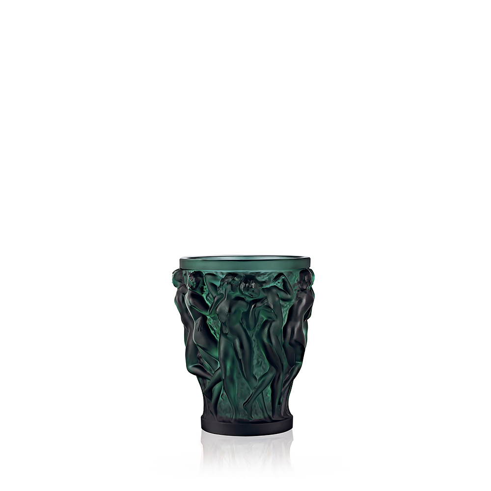 Bacchantes vase | Intense green crystal, small size | Vase Lalique