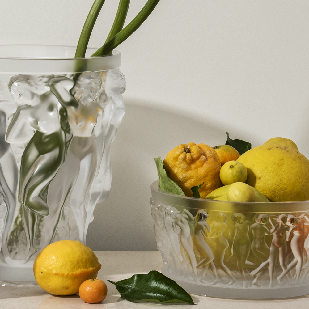 Bacchantes bowl | Clear crystal | Lalique crystal bowl