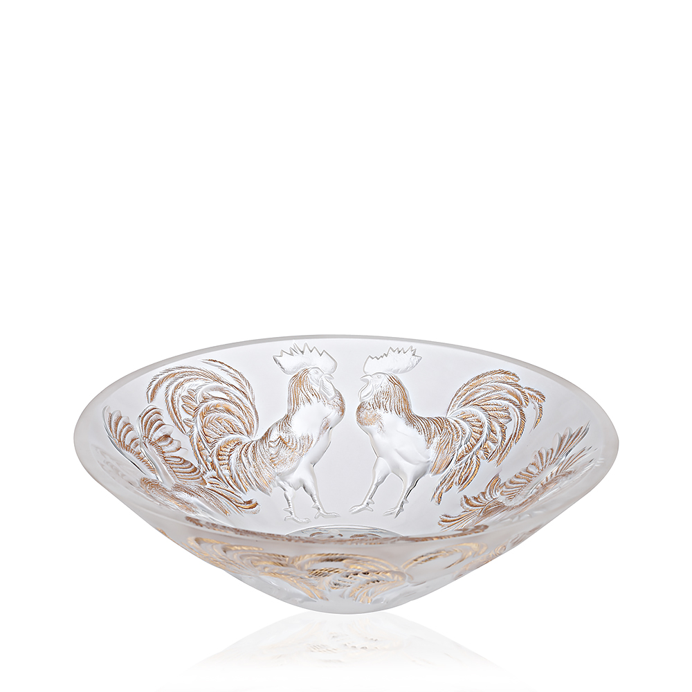 Rooster bowl | Limited edition (888 pieces), clear crystal and gold stamped | Lalique crystal vase