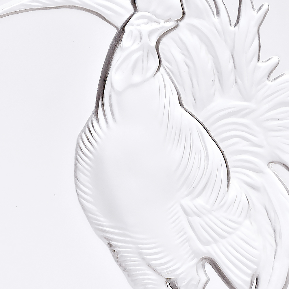 Rooster sculpture, paperweight | Clear crystal | Lalique crystal vase