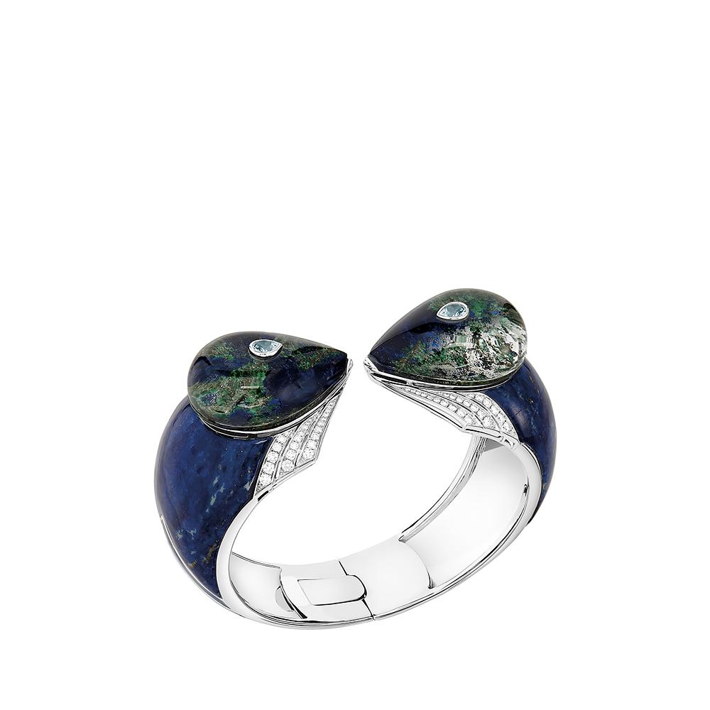 L'Oiseau Tonnerre bracelet | Aquamarines, diamonds, azurite-malachite, white gold | Lalique fine jewellery