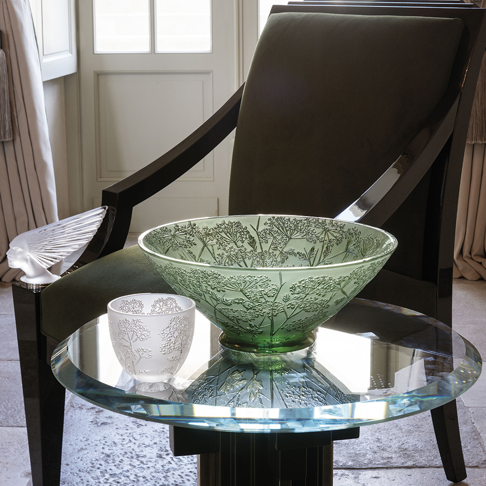 Ombelles bowl | Green crystal | Bowl Lalique