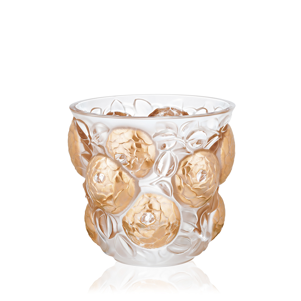 Oran vase | Limited edition (99 pieces), clear crystal and gold stamped | Vase Lalique