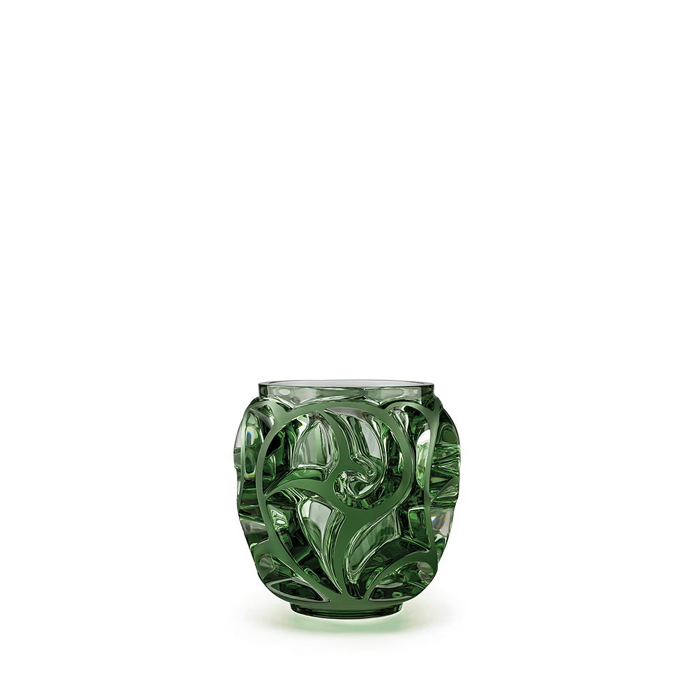 Tourbillons vase | Green crystal, small size | Vase Lalique
