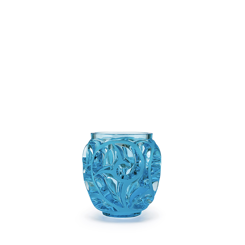 Tourbillons vase | Light blue crystal, small size | Vase Lalique