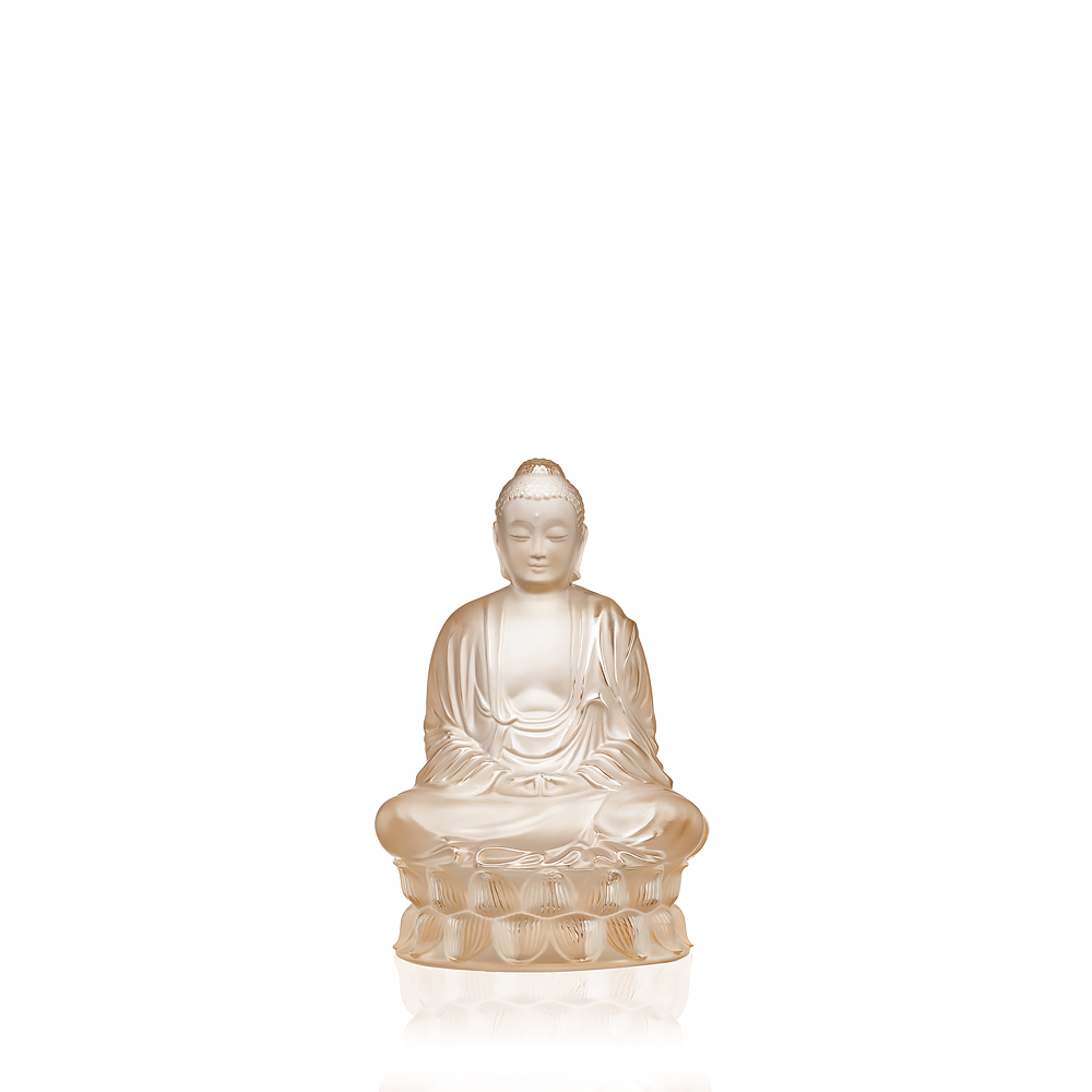 Small Buddha sculpture | Gold luster crystal | Sculpture Lalique