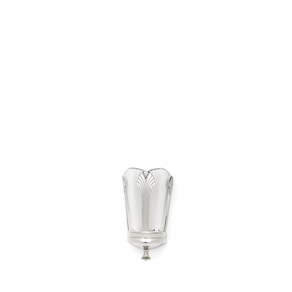 Ginkgo wall sconce | Clear crystal, shiny and brushed nickel finish, small size | Lalique & Delisle