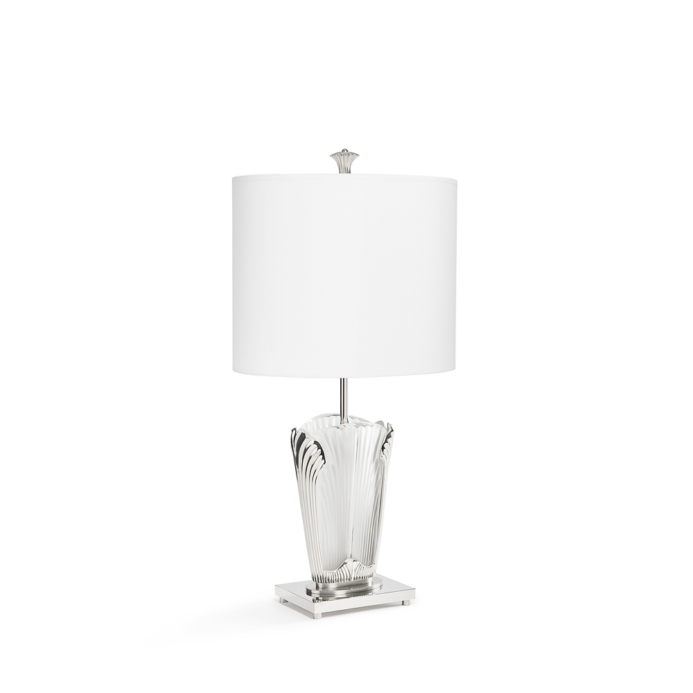 Ginkgo lamp | Clear crystal, shiny and brushed nickel finish | Lalique & Delisle