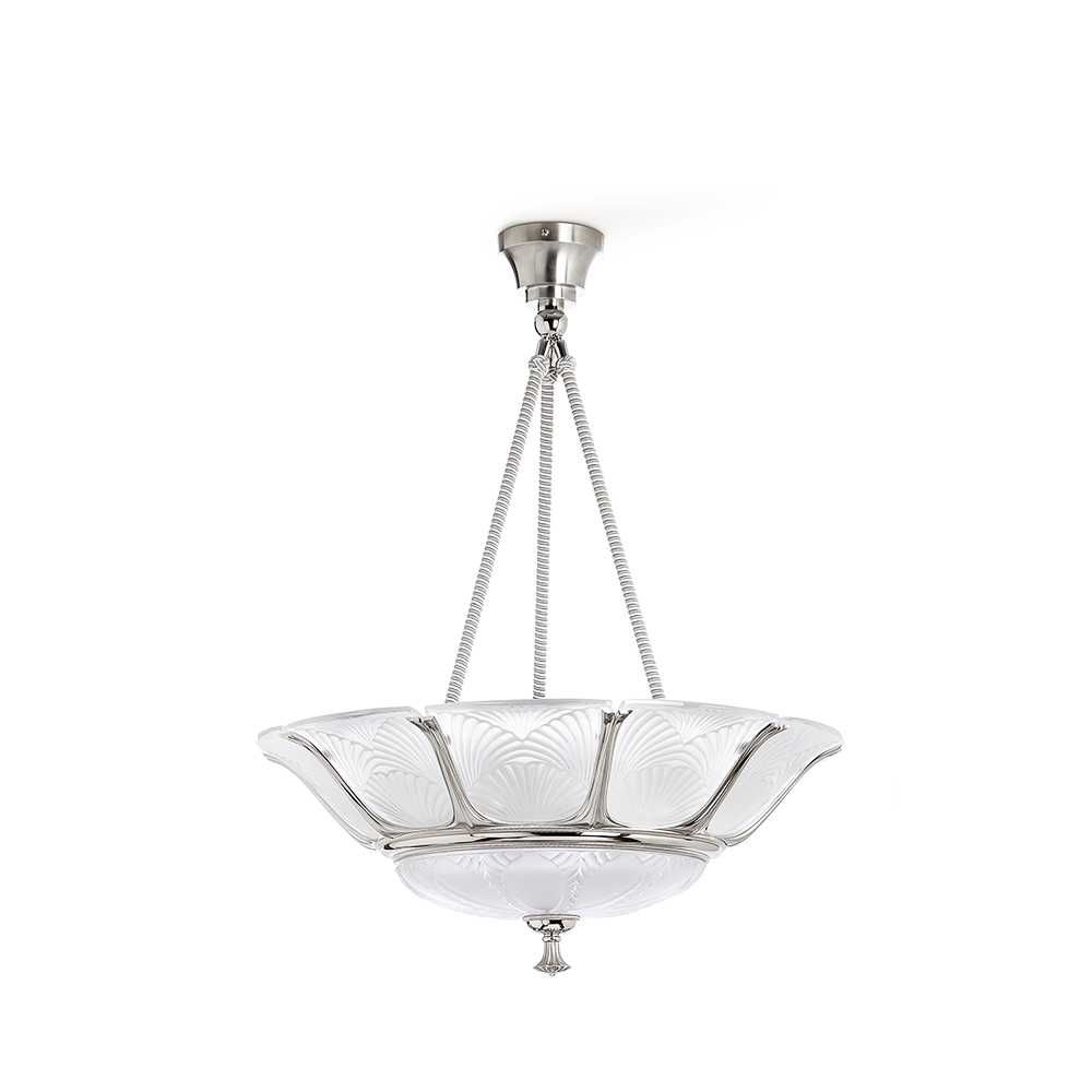 Ginkgo ceiling lamp | Clear crystal, shiny and brushed nickel finish, large size | Lalique & Delisle