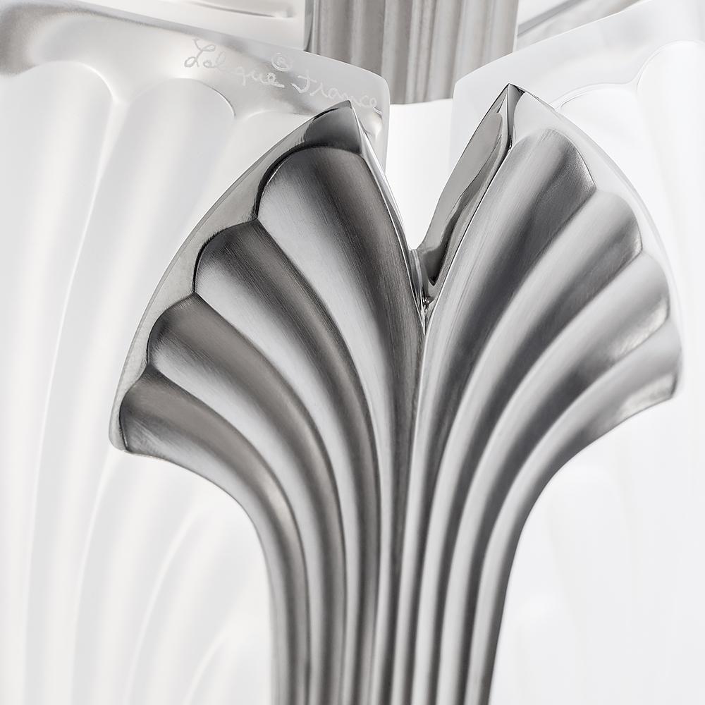 Ginkgo chandelier   Clear crystal, shiny nickel finish   Lalique & Delisle