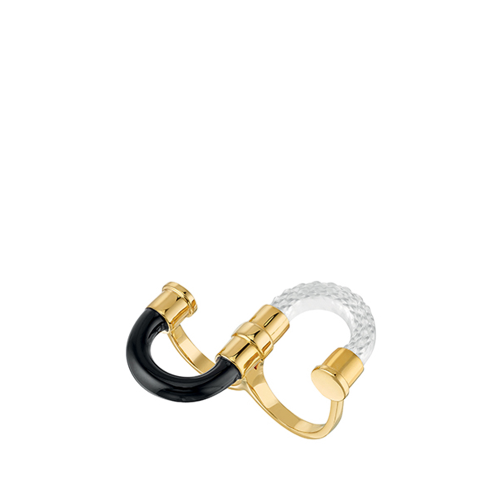 1927 Double ring | Clear crystal, plated in 18K yellow gold | Lalique exclusive collection