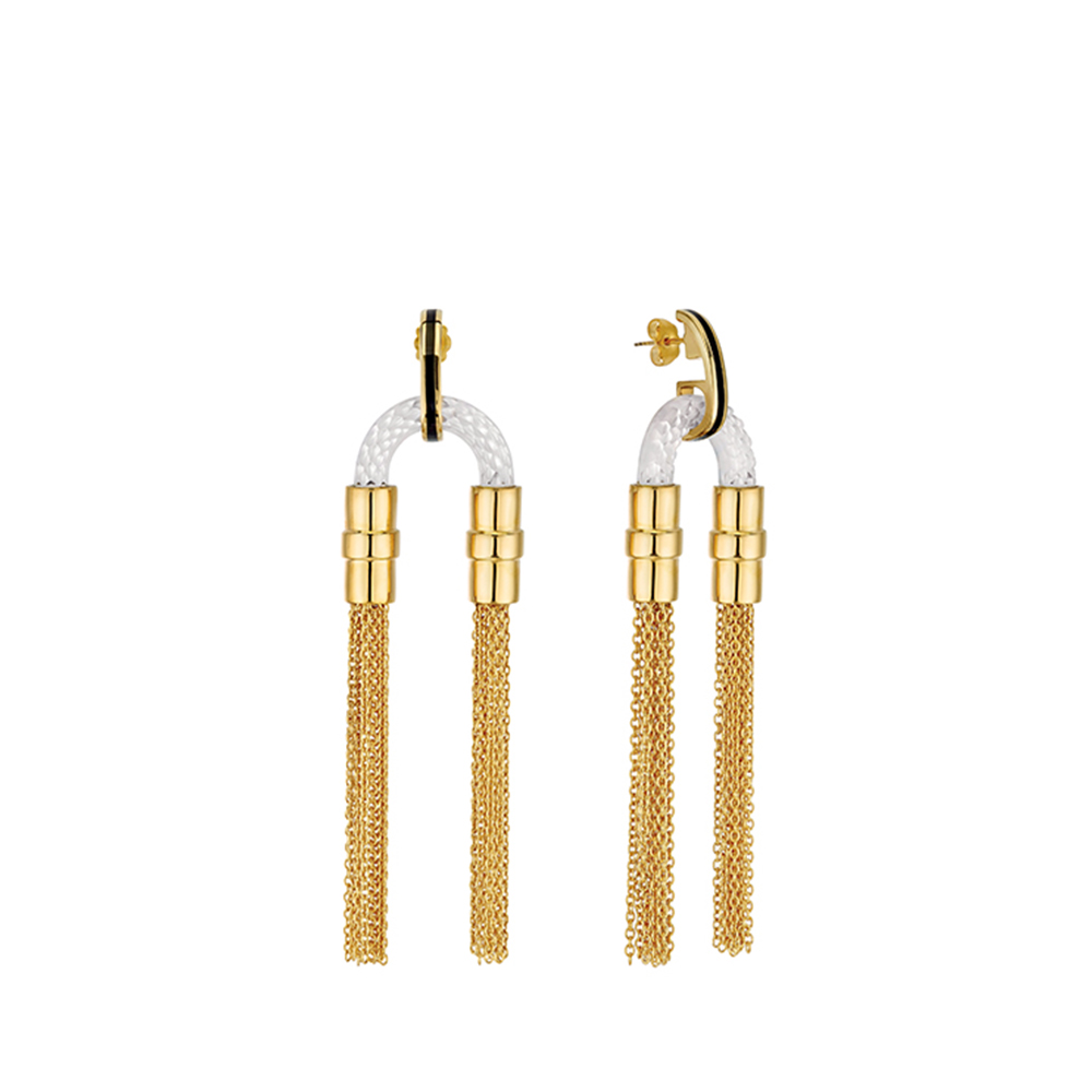 1927 Earrings | Clear crystal, plated in 18K yellow gold | Lalique exclusive collection